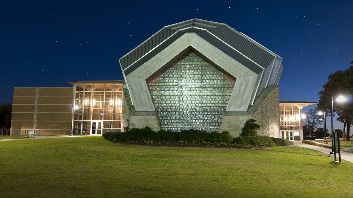 Murchison Performing Arts Center Exterior at Night